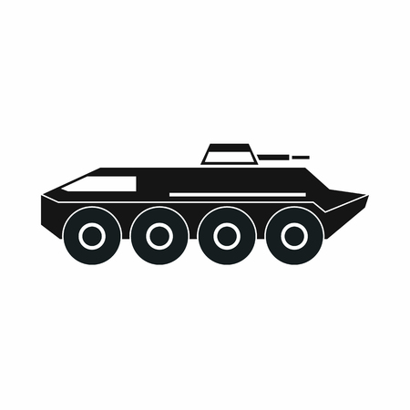 armored: Armored personnel carrier icon in simple style isolated on white background. War machine symbol