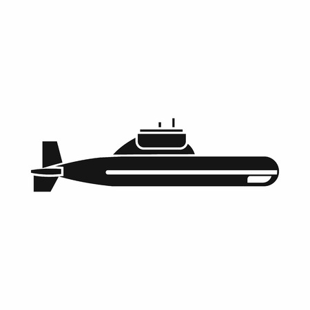 Submarine icon in simple style isolated on white background. Military transport symbol