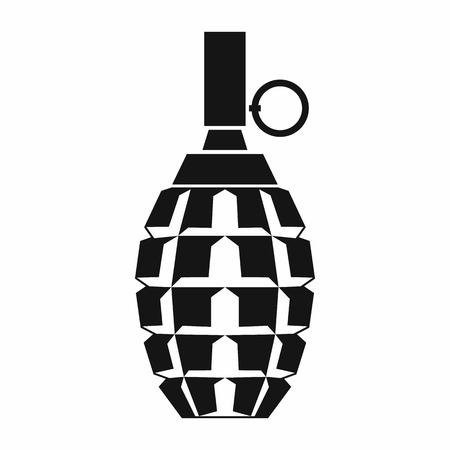 Granaatpictogram in eenvoudige stijl die op witte achtergrond wordt geïsoleerd. Wapens symbool