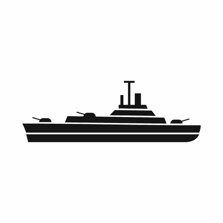 convoy: Warship icon in simple style isolated on white background. Military transport symbol