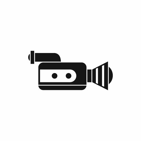 documentary: Retro camera icon in simple style isolated on white background. Video symbol