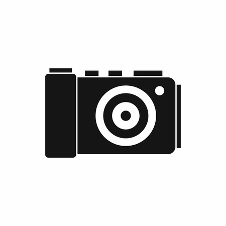 photo shooting: Photo camera icon in simple style isolated on white background. Shooting symbol