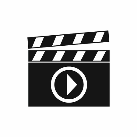 film shooting: Clapperboard for movie shooting icon in simple style isolated on white background. Film symbol Illustration