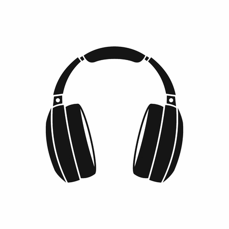 Headphones icon in simple style isolated on white background. Music symbol