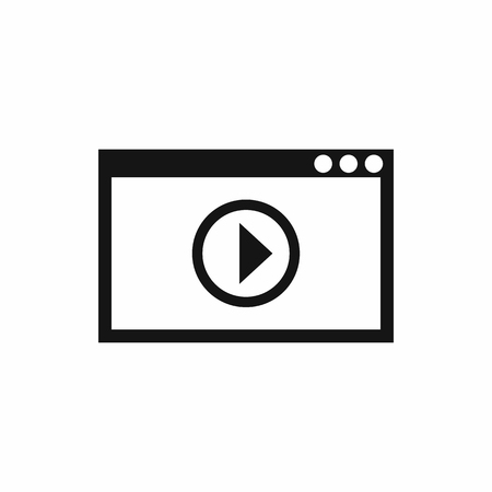 playback: Program for video playback icon in simple style isolated on white background. Movies symbol