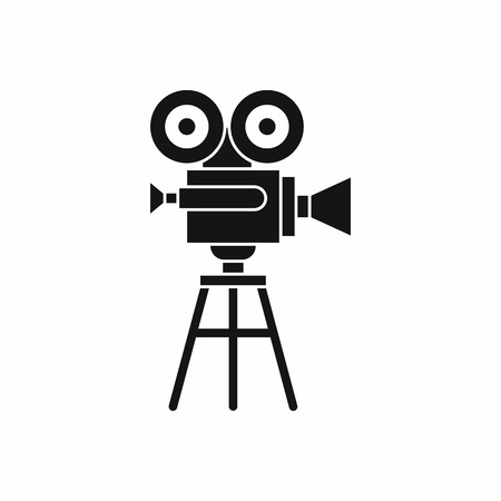film projector: Retro film projector icon in simple style isolated on white background. Video symbol Illustration