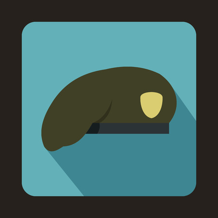 upturned: Army beret icon in flat style with long shadow