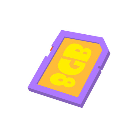 gb: Memory card 8 gb icon in cartoon style isolated on white background. Storage symbol