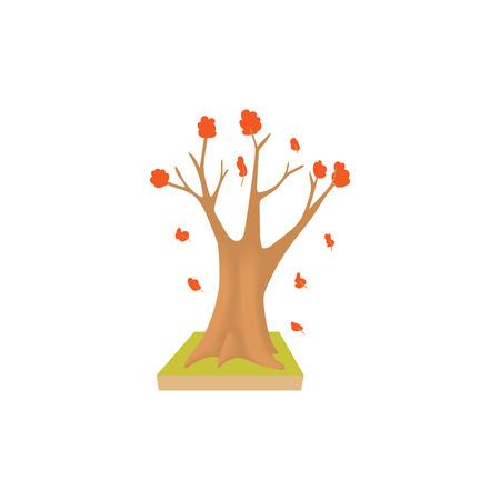 autumn tree: Autumn tree icon in cartoon style isolated on white background. Nature and plant symbol Illustration
