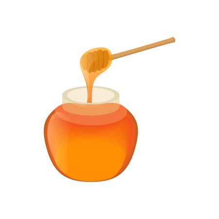 Jar of honey icon in cartoon style isolated on white background. Food symbol