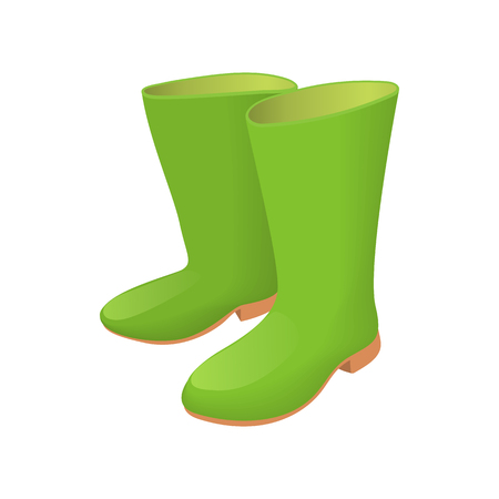 Rubber green boots icon in cartoon style isolated on white background. Shoes symbol Illustration