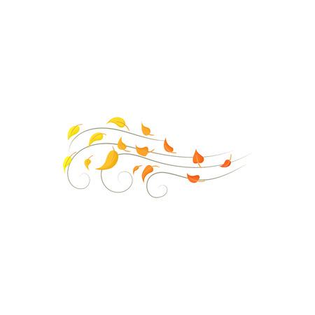 漫画のスタイルの白い背景で隔離の秋の風アイコン。天気記号