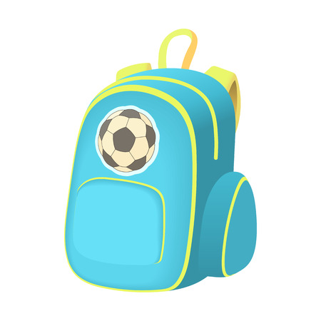 School backpack icon in cartoon style isolated on white background. Rucksack symbol Illustration