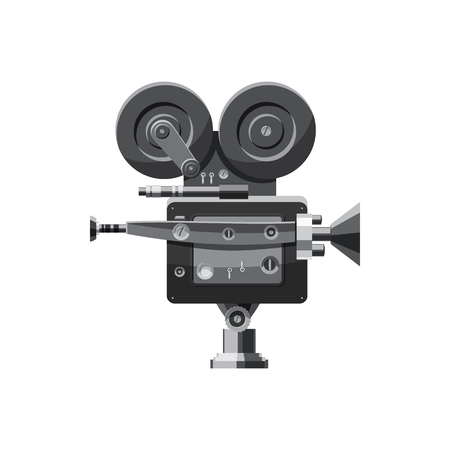 video camera: Retro camera icon in cartoon style isolated on white background. Video symbol