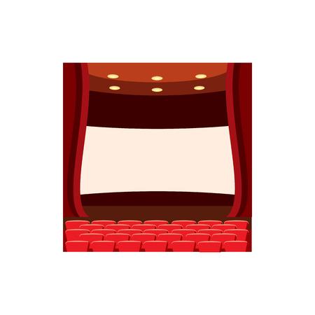 watching movie: Scene cinema icon in cartoon style isolated on white background. Watching movie symbol