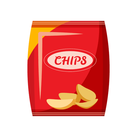 Packing with chips icon in cartoon style isolated on white background. Food symbol