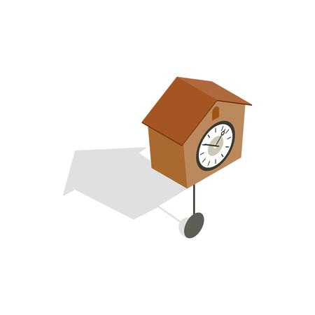 reloj cucu: icono del reloj de cuco en estilo isom�trica 3d aislado en el fondo blanco