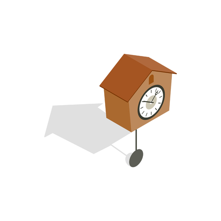 Cuckoo clock icon in isometric 3d style isolated on white background Illustration
