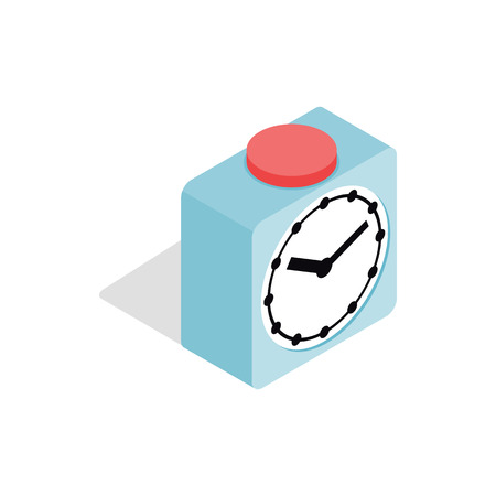 cronometro: Clock with red button icon in isometric 3d style isolated on white background