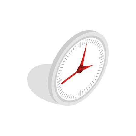 office clock: White office clock icon in isometric 3d style isolated on white background