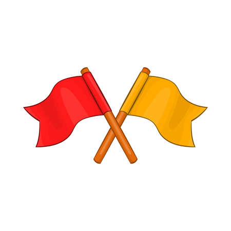 Two crossed flags icon in cartoon style on a white background Illustration