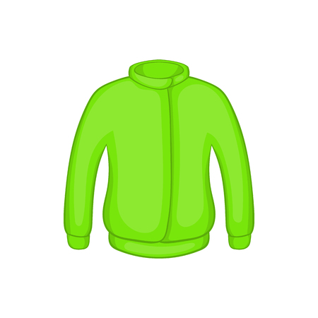 hooded sweatshirt: Green paintball jacket icon in cartoon style on a white background Illustration