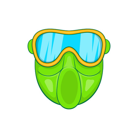 plastic soldier: Green paintball mask icon in cartoon style on a white background Illustration