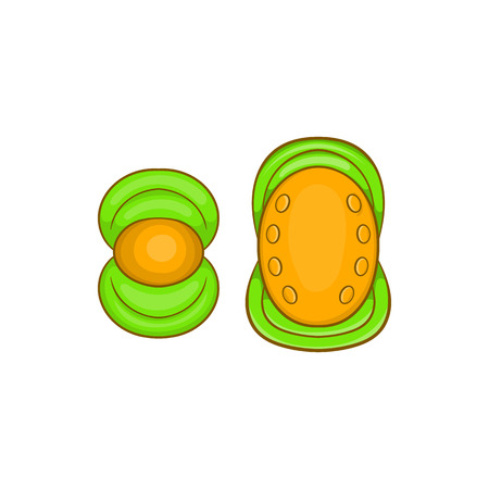 kneecap: Knee protector and elbow pad icon in cartoon style on a white background