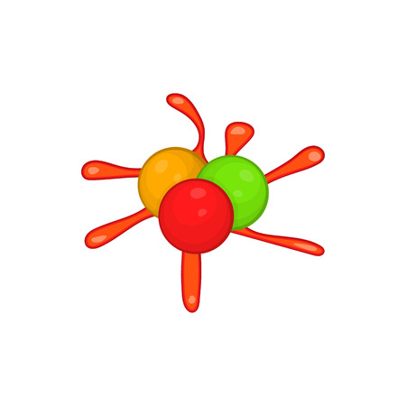 Colorful paintball blob icon in cartoon style on a white background