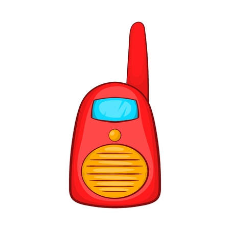 simplex: Red portable handheld radio icon in cartoon style on a white background