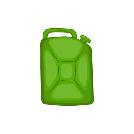 green fuel: Green fuel canister icon in cartoon style on a white background