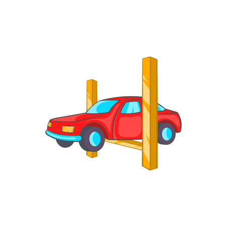 auto hoist: Car lifting icon in cartoon style on a white background Illustration