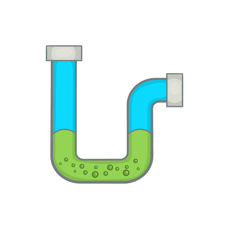 Clog in the pipe icon in cartoon style on a white background Stock Illustratie