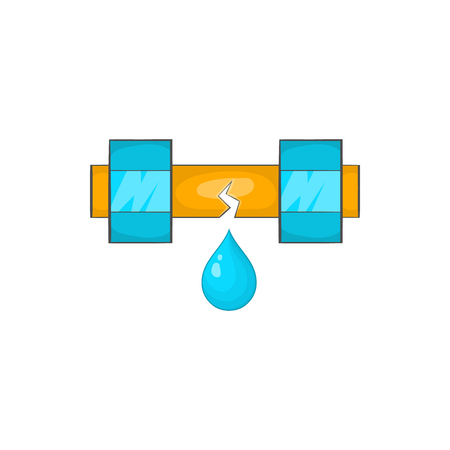 Dripping water pipe icon in cartoon style on a white background