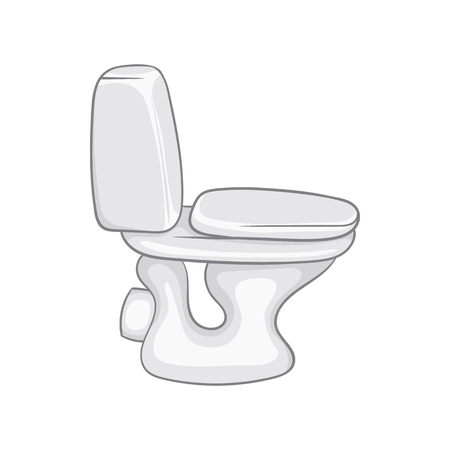 White toilet bowl icon in cartoon style on a white background Illustration