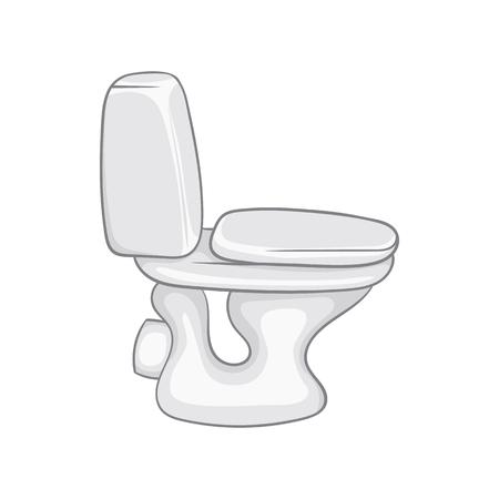 toilet bowl: White toilet bowl icon in cartoon style on a white background Illustration