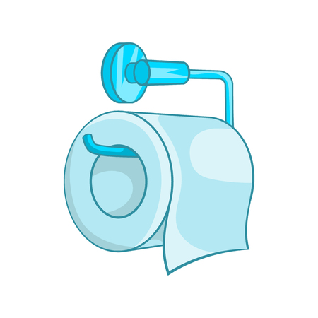 Toilet paper icon in cartoon style on a white background