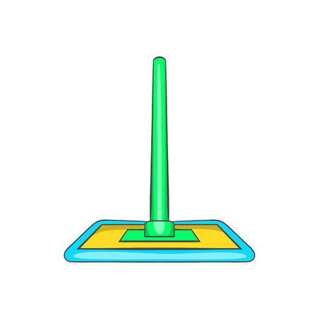 mop floor: Floor cleaning mop icon in cartoon style on a white background