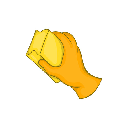 Hand in orange glove with rag icon in cartoon style on a white background Фото со стока - 60409779