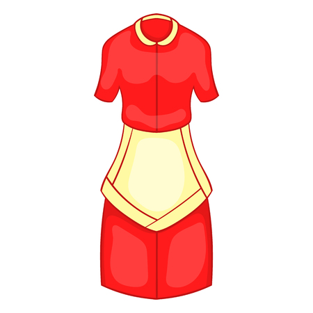 Red housewife dress with white apron icon in cartoon style on a white background Illustration