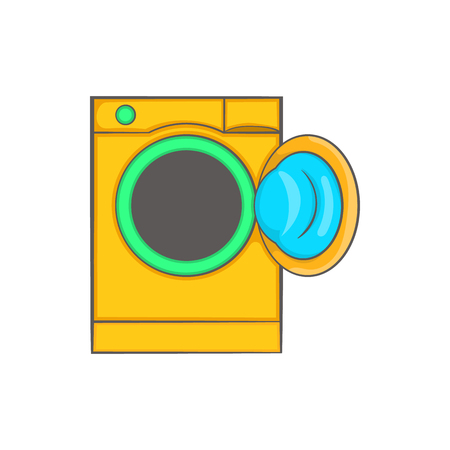 rinse: Yellow washing machine icon in cartoon style on a white background Illustration