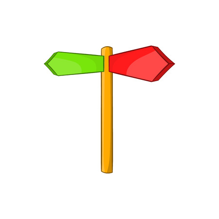 traffic pole: Direction signs icon in cartoon style on a white background