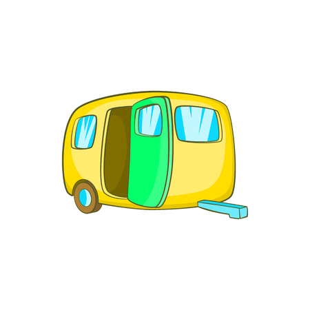 yelllow: Yelllow camping trailer icon in cartoon style on a white background