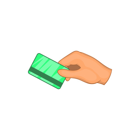 keycard: Hand with hotel room key card icon in cartoon style on a white background