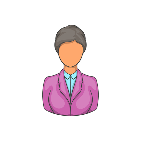Woman receptionist at hotel icon in cartoon style on a white background