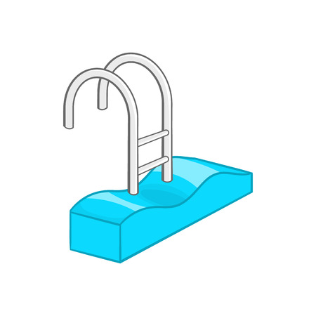 health resort: Stairs of the swimming pool icon in cartoon style on a white background
