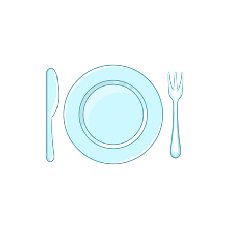 formal place setting: Place setting with empty dish fork and knife icon in cartoon style on a white background Illustration
