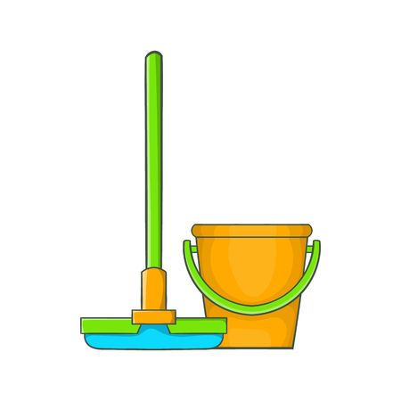 Bucket with mop icon in cartoon style on a white background