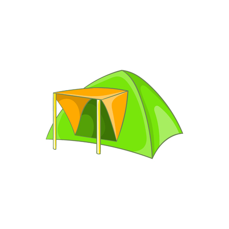 refuge: Green tent icon in cartoon style on a white background Illustration