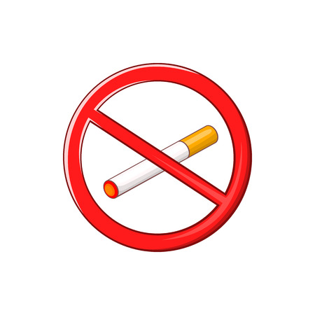 pernicious habit: No smoking sign icon in cartoon style on a white background